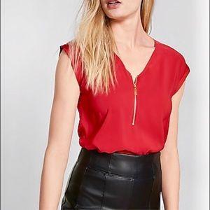 NWOT Express Silky Zip Front Crimson Tee - Size S